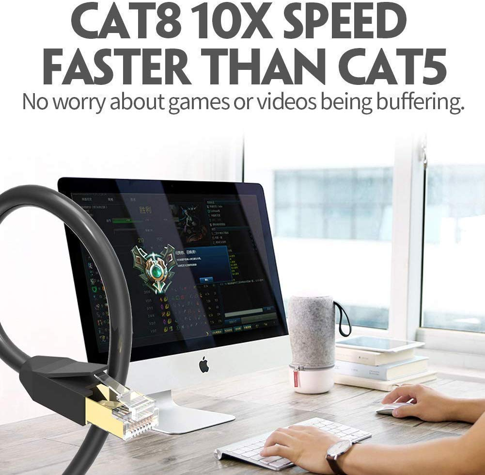 cat8 10x spped faster than cat5 Ethernet cable